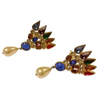 Jeweled Holiday Statement Earrings