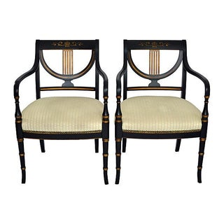 Black & Gold Regency Armchairs - A Pair