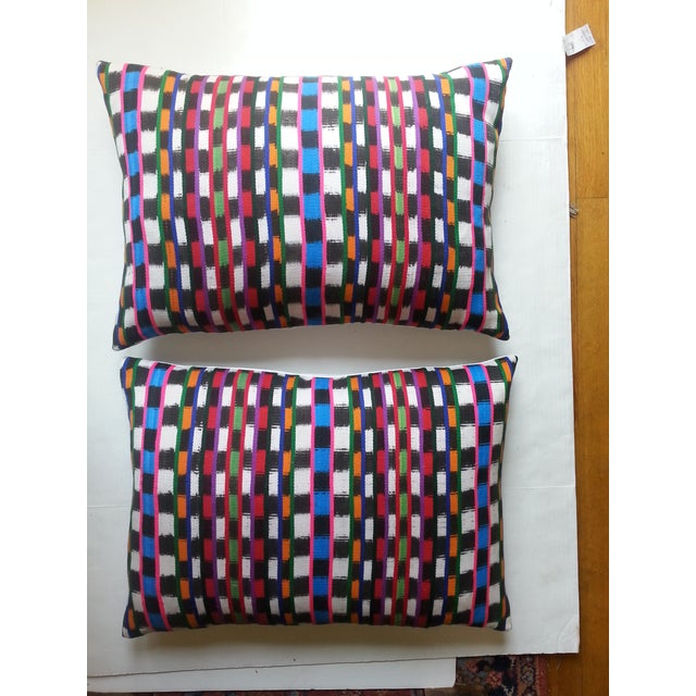 Image of Guatemalan Multi-Plaid Pillows - A Pair