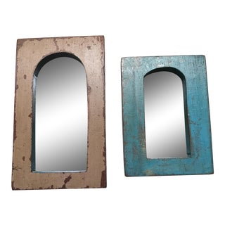 Vintage Indian Archway Painted Teak Mirrors- A Pair