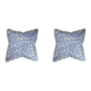 P Kaufmann Periwinkle Blue Pom Pom Trim Pillow Covers- A Pair