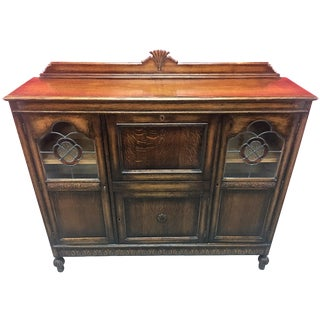Antique Carved Wood Secretary Desk