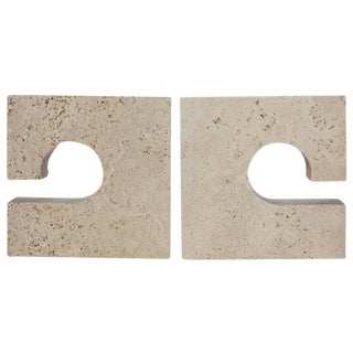 Mid-Century Italian Travertine Bookends by Flli Mannelli for Raymor