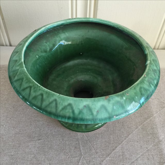Mid-Century Green Pottery Vessel - Image 4 of 7