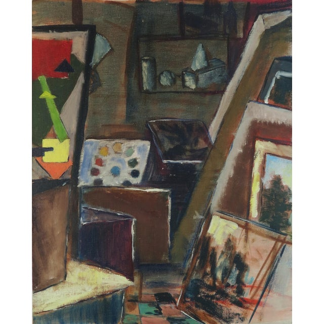 "Image of Trudy Taylor ""Artist's Studio"" Abstract Oil Painting"