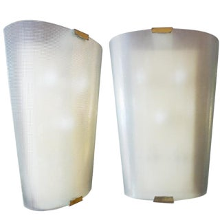 Pair of Large Textured Mid-Century Glass Wall Sconces, Italy circa 1950