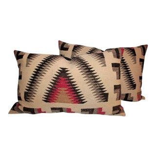 Pair of Monumental Geometric Indian Weaving Bolster Pillows