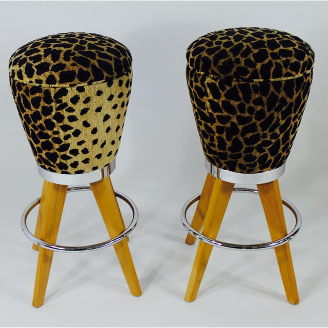 Leopard Skin Fabric & Maple Bar Stools- A Pair - Image 4 of 4