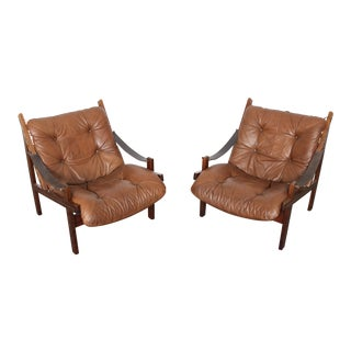 Pair of Torbjorn Afdal midcentury leather lounge chairs
