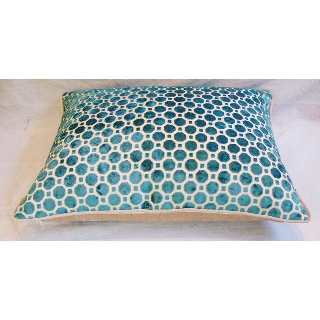 Turquoise Geometric Dot Velvet Feather/Down Pillow - Image 7 of 7