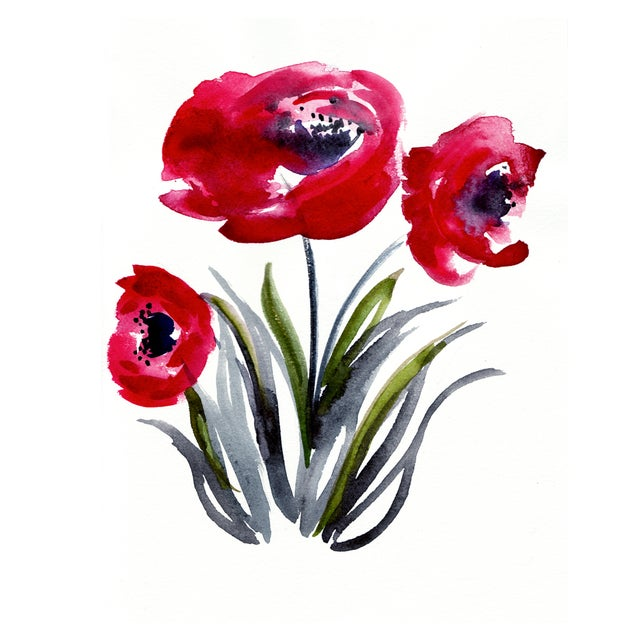 """Poppies"" Original Watercolor Painting - Image 1 of 2"