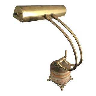Art Deco Brass Onyx Desk Lamp