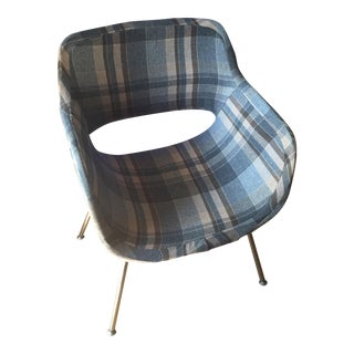 Vintage Mid-Century Plaid Wool Accent Chair