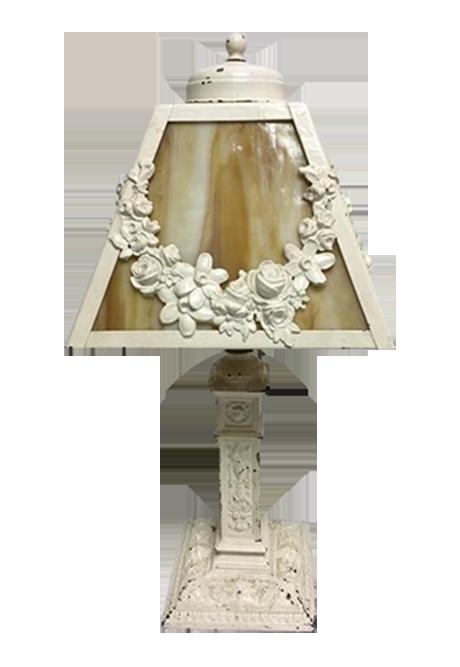 Charming Vintage Shabby Chic Slag Glass Lamp : Chairish