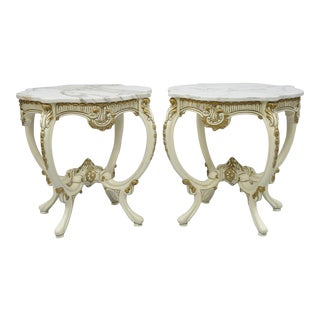 Vintage Roma Furniture French Provincial Louis XV White Marble Top End Tables - A Pair