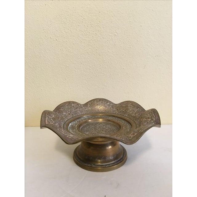 Image of Brass Scalloped Pedestal Dish