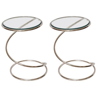 Milo Baughman for Pace Collection Chrome and Glass Spiral Side Tables - a Pair