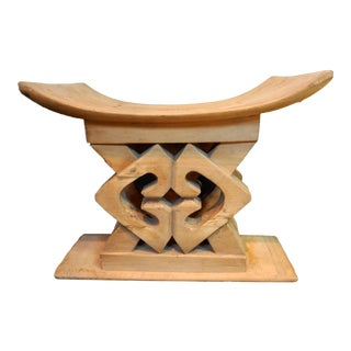 Rare Old Ashanti Carved Wood Stool