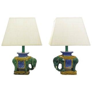 Glazed Ceramic Elephant Lamps - Pair