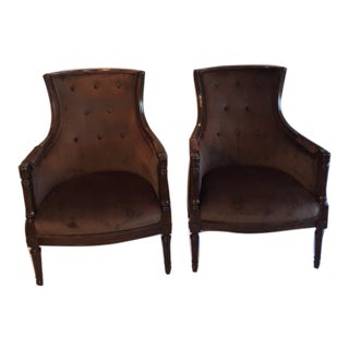 Mid Century Wingback Chocolate Brown Chairs - a Pair