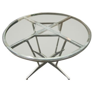 Glass Top Steel Base Table