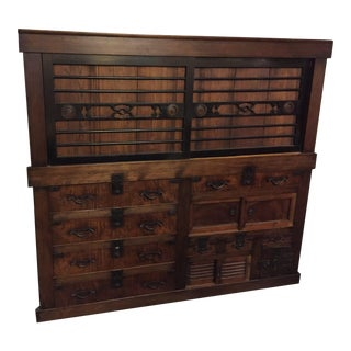 Japanese Tansu Chest With Iron Accents - A Pair