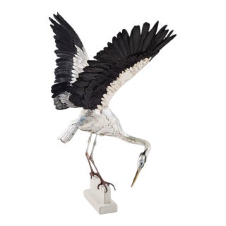 Georgina Brett-Chinnery Self Reliance 1 - a life size heron sculpture made of hand-tooled leather 2016