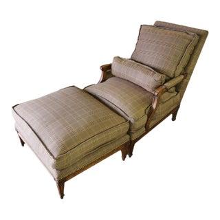 Nailhead Trim Plaid Chair & Ottoman