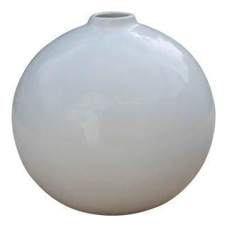 """Mid-Century Modern White Glazed Orb Vase """"Made in Brasil"""""""