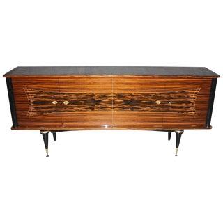 French Art Deco Sideboard   Buffet Macassar Ebony  circa 1940s. Vintage   Used Mid Century Modern Furniture   Decor