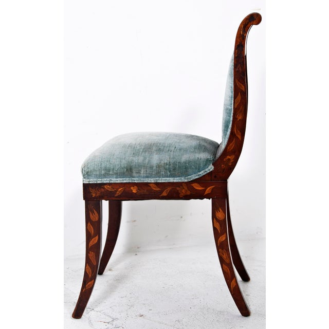 Dutch Inlaid Upholstered Chairs - Set of 4 - Image 3 of 4
