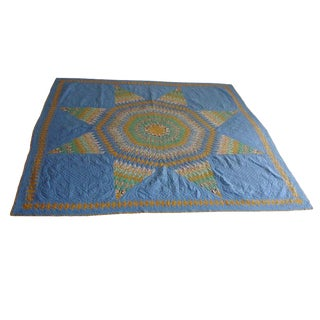 1930s Finely Pieced and Quilted Lg, Star Quilt Diamond Border