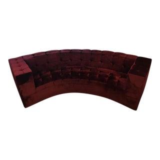 Modern Curved Tufted Burgundy Velvet Sofa