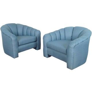 Blue Channel Back Lounge Chairs - A Pair