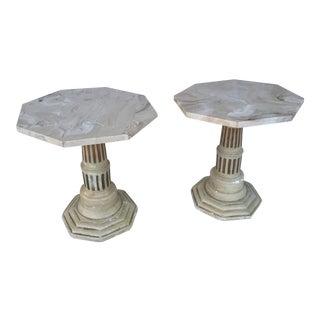 Antique Marble End Tables - A Pair