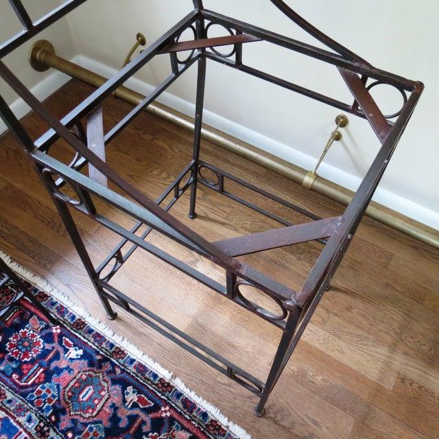 Blue Seat & Wrought Iron Bar Stools - Set of 3 - Image 6 of 6