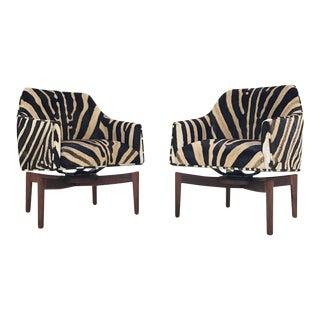 Forsyth One of a Kind Jens Risom Walnut Swivel Chairs Restored in Zebra Hide - Pair