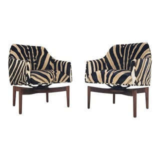Forsyth One of a Kind Jens Risom Walnut Swivel Chairs Restored in Zebra Hide - Pair