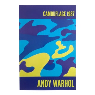 1987 Andy Warhol Blue Camouflage Original Lithograph Print Pop Art Poster