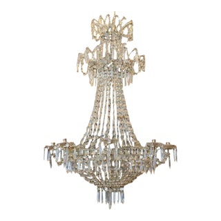 "Double Crown, ""Bag and Tent"" Cut Crystal Chandelier"
