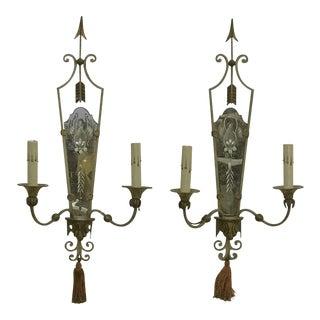 Antique Italian Mirrored Sconces - a Pair