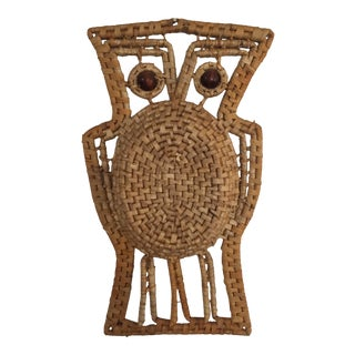 Mid-Century Woven Owl Wall Hanging
