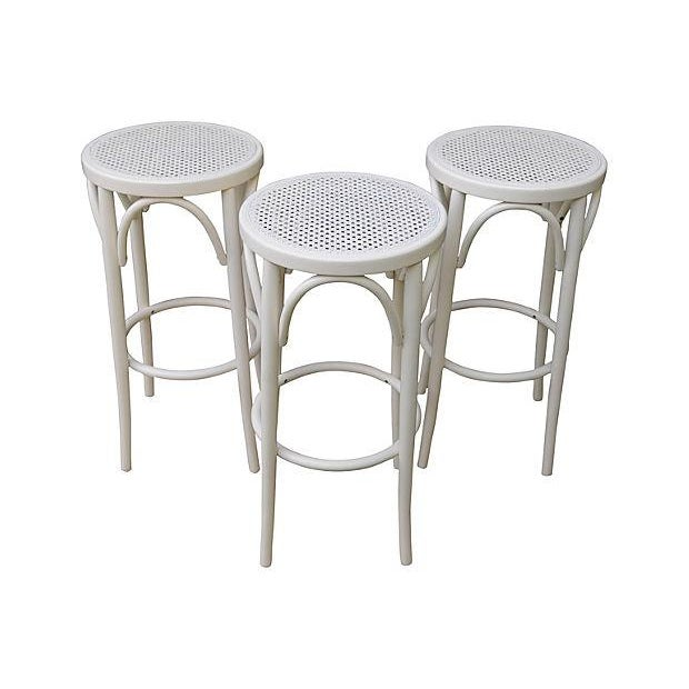 Image of Bentwood & Cane Barstools - Set of 3