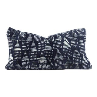 Blue Pyramids Mudcloth Pillow