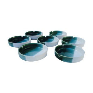 Mid-Century Modern Glazed Ashtrays - Set of 7