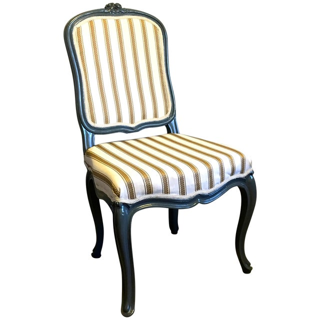 Antique Yellow & Gray Stripe Chair - Image 1 of 7