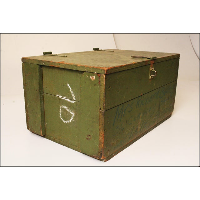 Vintage Distressed Green Military Trunk - Image 7 of 11