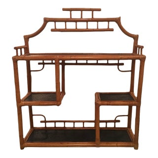 Pagoda Rattan Bamboo Wall or Floor Etagere Shelf