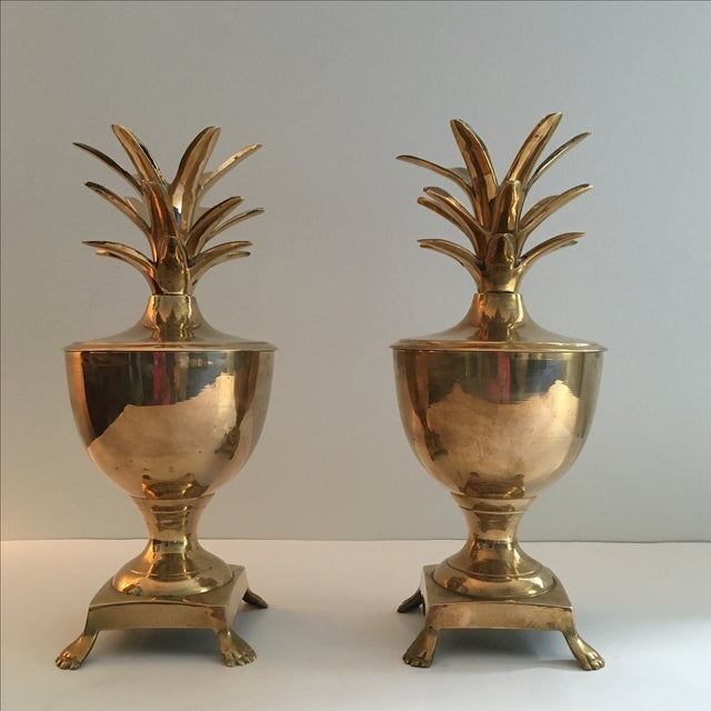 Vintage Brass Pineapple Urn Containers - A Pair - Image 2 of 6