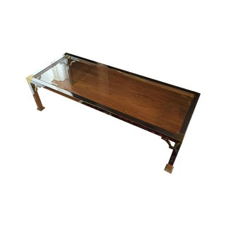 Chrome And Brass Hollywood Regency Coffee Table